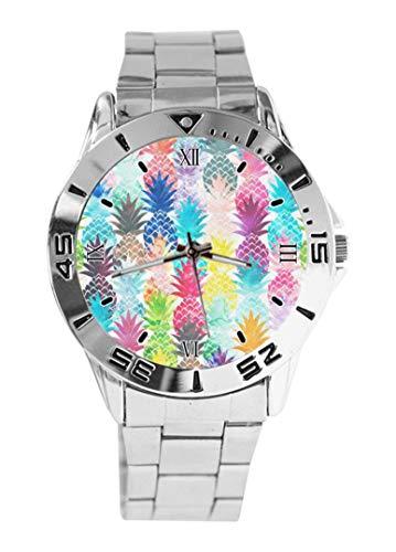 Pastores australianos y pata de diseño duradero reloj de pulsera de cuarzo esfera plateada clásico de acero inoxidable banda de reloj de mujer de los hombres