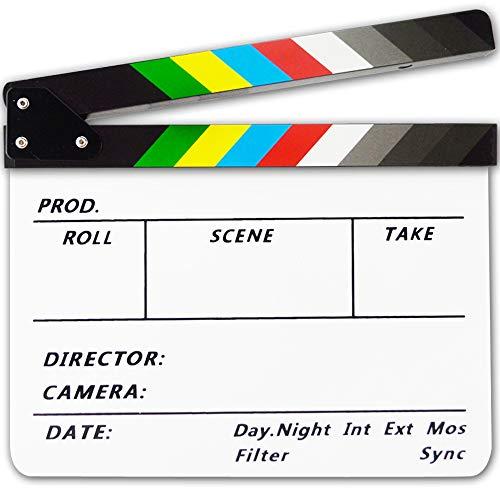YUOCU Acrylic 10x12 inches /25x30cm Colorful Clapboard Dry Erase Director's Film Movie Cut Action Scene Clapper Board Slate & Pen (White/Colorful, 10x12inches)