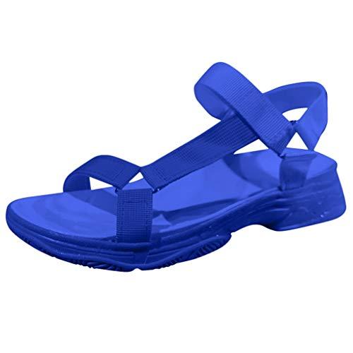 Julhold Damen Sandalen Freizeitschuhe Sommer Komfortable Offene Spitze rutschfeste Strandhausschuhe Schnalle Slip on Slides Schuhe(Blau,41)