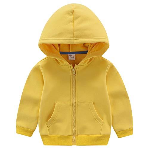 ANIMQUE Kinder Unisex Sweatjacke Einfarbig Thermal Fleece Gefüttert Zip Hoodie Kapuzenpullover Winter, Gelb 140