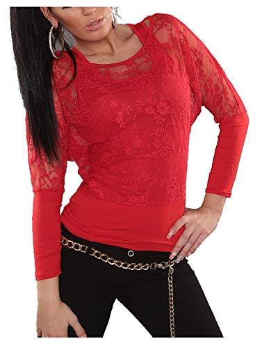 Koucla Damen Longsleeve 2 in 1 Shirt mit Spitze, Farbe:Rot, Größe:Einheitsgröße