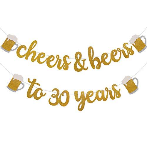 Rhdekoein Prost Bier 30. Jahrgang Deko Gold Glitter Banner für 30. Geburtstag Hochzeit Jahrestag Party Dekorationen Pre Strung & bereit zum Aufhängen