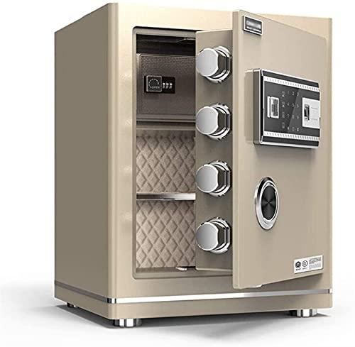ZXNRTU Cajas de Seguridad para el hogar, Caja de Seguridad Digital - 45X38X32Cm electrónico Grande de Acero Seguro con Funciones de Teclado, 2 Accionamiento Manual Llaves de protección contra Dinero,