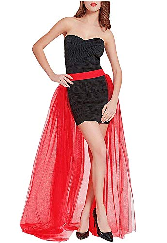 L'VOW Women' 4 Layers Overlay Long Tulle Dress Floor Length Tutu Skirt for Party Wedding (Red)
