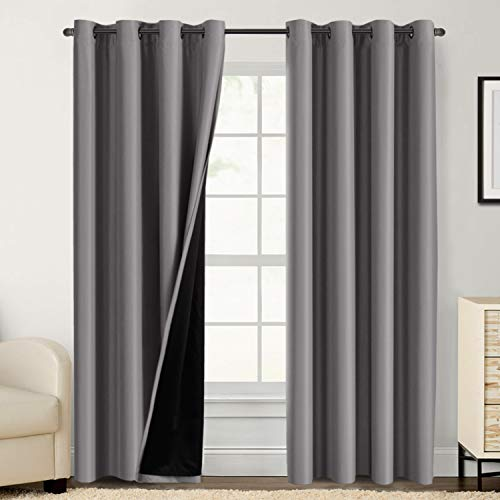 100% Blackout Curtains for Bedroom 84 Inches Long Thermal Insulated Lined Curtains for Living Room Double Layer Full Light Blocking Energy Saving Grommet Drapes Draperies, 2 Panels, Grey