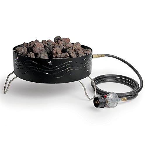 Camco 58041 Portable Campfire Outdoor Propane Heater Compact Fire Pit with Lava Rocks for Camping, Tailgating, and Patios, Black