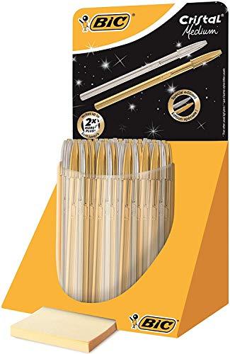 Bic Cristal - Expositor de 40 bolígrafos, color oro y plata
