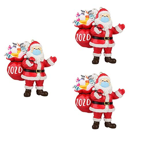 2020 Christmas Ornament 2020 Quarantine_Santa Face Ornaments Santa Christmas Ornament with Face Bandana Christmas Tree Decoration Pendant Keepsake Unique Luxury Ornament for Family and Friends (3PC)