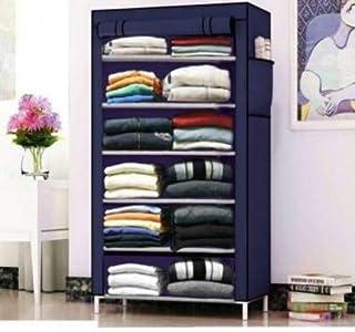 Sasimo Clothes Closet - Freestanding Garment Organizer with Sturdy Fabric Cover-Navyblue
