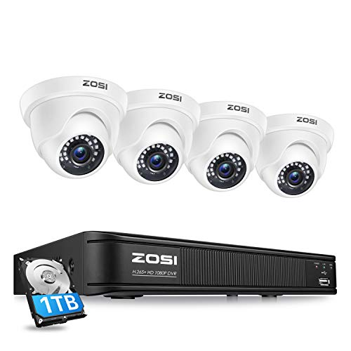 ZOSI 1080P H.265+ Home Security Camera System,5MP Lite 8 Channel Surveillance DVR with Hard Drive 1TB and 4 x 1080p Weatherproof CCTV Dome Camera Outdoor Indoor with 80ft Night Vision, Motion Alerts