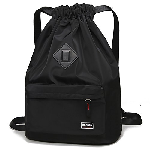 Peicees Waterproof Drawstring Sport Bag Lightweight Sackpack Backpack for Men and Women(Black)