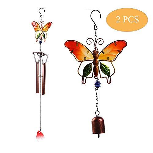 MQUPIN Windspiel, Schmetterlings-Design, für Zuhause und draußen, mit 4 hohlem Aluminiumrohr/Glocke und S-Haken - Geschenk für Mutter, Erntedankfest, Gedenk-Windspiel gelb