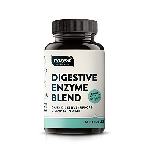 Nuzest Digestive Enzyme Blend - Daily Digestive Support, Nutrient Absorption, Non-GMO, Yeast-Free, Gluten-Free, Soy-Free, 60 Vegan Capsules