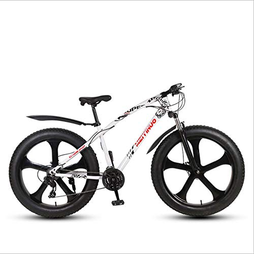 DGAGD 26 inch Off-Road Beach Snowmobile Super Wide 4.0 Big tire Mountain Bike Five-Spindle Wheel-White_27 Speed