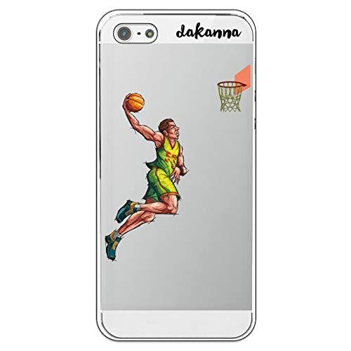 dakanna Funda para iPhone 5-5S - SE   Jugador de Baloncesto   Carcasa de Gel Silicona Flexible   Fondo Transparente