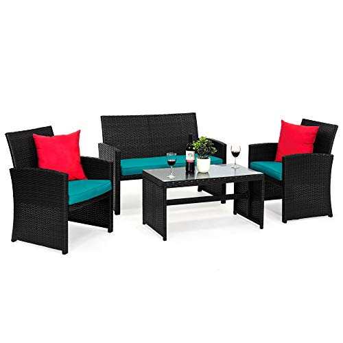 Best Choice Products 4-Piece Wicker Patio Conversation Furniture Set w/ 4 Seats, Tempered Glass Tabletop - Black Wicker/Teal Cushions