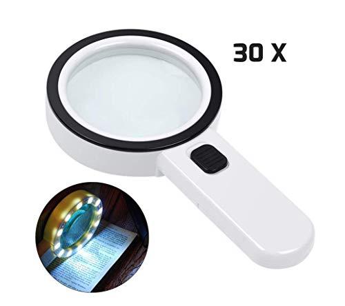 HYLHY Lupe, 30X Handheld Large Lupe 12 LED beleuchtete beleuchtete Lupe für Makuladegeneration, Lesen von Senioren, Löten, Inspektion, Münzen, Schmuck, Erkunden