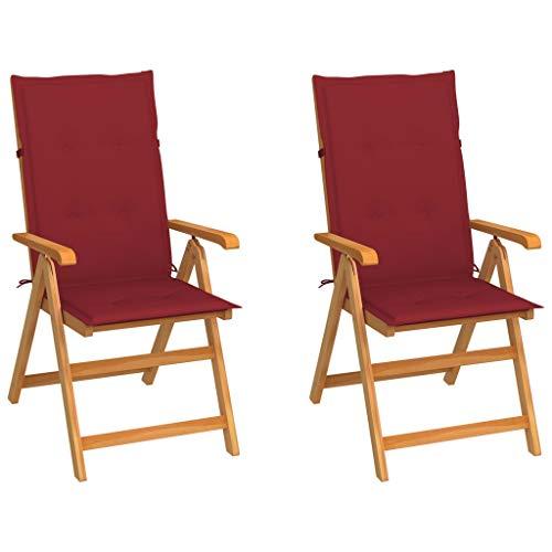 vidaXL 2X Teak Massiv Gartenstuhl mit Weinroten Kissen Klappbar Hochlehner Klappstuhl Gartensessel Holzstuhl Stuhl Stühle Gartenstühle