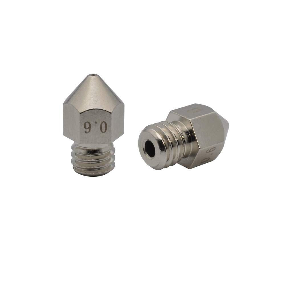 Factory outlet POLISI3D 2pcs MK8 Plated Wear Brass Tulsa Mall 0.6mm Resistant Nozzle Compa