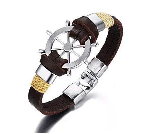 Pulsera del Encanto del timón de la Vendimia para Hombres Brazaletes de Pulseras de Cuerda de Cuero Multicapa 7.87',e
