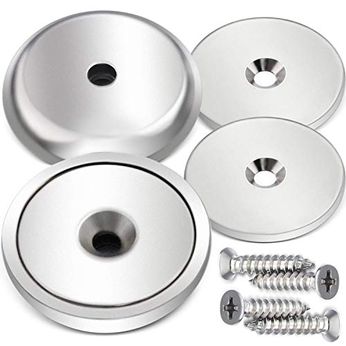 Great Round Base Mounting Magnets Very Strong Holding Power Made of Rare Earth Magnets 88 LB Each 2 Pack Super Powerful Cup Neodymium Magnets w// #10 Countersunk Hole Plus Matching Strikers /& Screws
