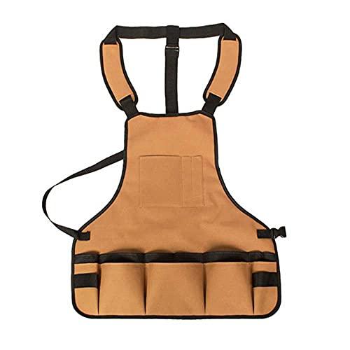 Delantal de taller de utilidad 18 bolsillos para herramientas Babero Delantal duradero impermeable con hebilla para carpinteros, jardineros, mecánicos
