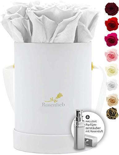 Rosenlieb Rosenbox Weiß mit 4 Infinity Rosen (3 Jahre haltbar)   Echte konservierte Blumen   Flowerbox Inkl. Grußkarte Geschenkidee   Pico Bellissima Weiß