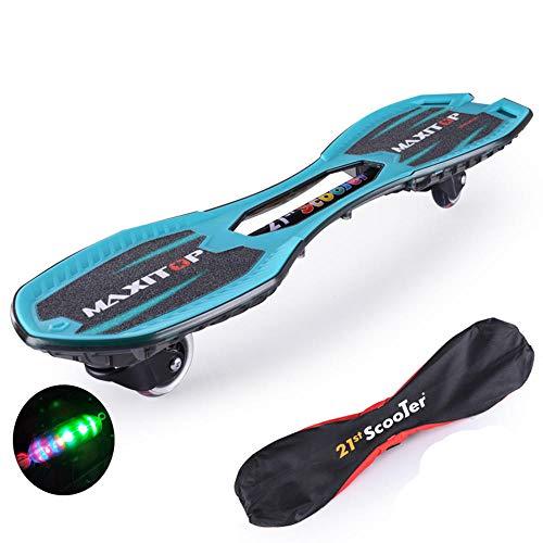 ZJJLZJ Waveboards, der Drachenbrett Flash-Kinderroller, das Anfänger-Vitalitätsbrett, 10 Jahre alt und Zwei Runden mit leuchtendem Jugend-Erwachsenen-Skateboard,-Blau