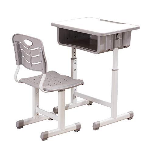 JYXJJKK [Compra directa británica, adecuado para diferentes grados de niños, escritorios y sillas de estudio, ajustable, para estudiantes, niños, silla con respaldo y cojín, color blanco