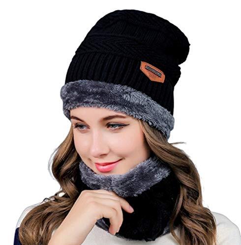 Zacharias Women's Woolen Cap with Neck Muffler/Neckwarmer Pack of 2 Black Free Size