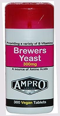 Ampro Brewers Yeast 300mg x 300 Vegan Tablets - Providing A Variety Of Vitamin B Vitamins / A Source Of Amino Acids