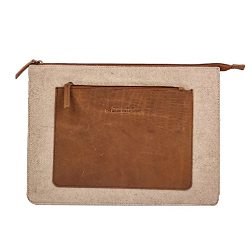 The Leather Warehouse 13 Inch Apple MacBook Geniune Cow Leather Laptop Sleeve / Bag with Wool Felt Inside Card Holder / Compartment Handmade Unisex - Beige and Brown