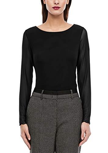 s.Oliver BLACK LABEL Damen Langarmshirt aus Mesh Black 46