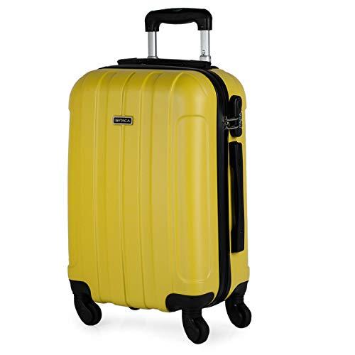 ITACA - Maleta Cabina de Viaje Rígida 4 Ruedas Trolley 55 cm ABS Lisa. Pequeña Equipaje de Mano. Cómoda y Ligera. Viajes Cortos. Low Cost Ryanair, 771150, Color Amarillo