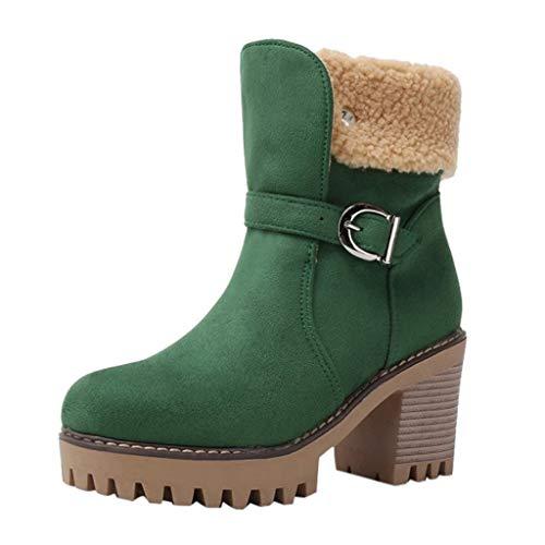 WUSIKY Stiefeletten Damen Bootsschuhe Boots Geschenk für Frauen Winter warme Stiefel Square High Heel Schnalle Ankle Bare Boots Casual Booties