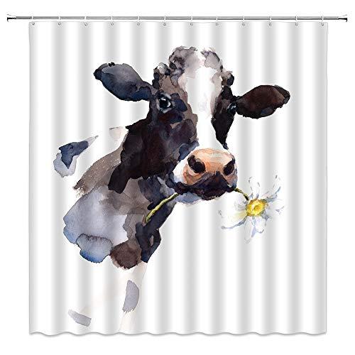 Milk Cow Shower Curtain Watercolor Farm Animal Cow Daisy Flower Rustic Art Home Bathroom Decor Quick Dry Fabric Curtain with 12 Hooks70x70 InchWhite Black