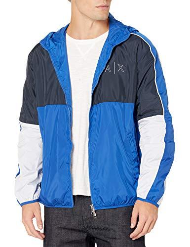 Armani Exchange Men's Blouson Jacket Windbreaker, Navy Marine White, M