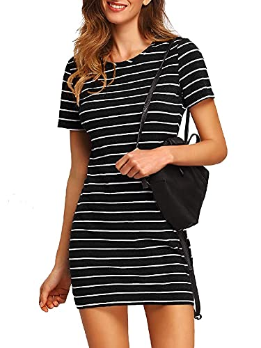 Floerns Women's Casual Short Sleeve Striped Bodycon T Shirt Short Mini Dress A Black and White XS