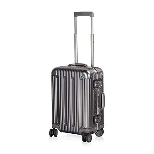 Travelking Aluminum Luggage Carry On Spinner Hard Shell Suitcase Lightweight Metal Suitcases (Grey, 20 Inch)