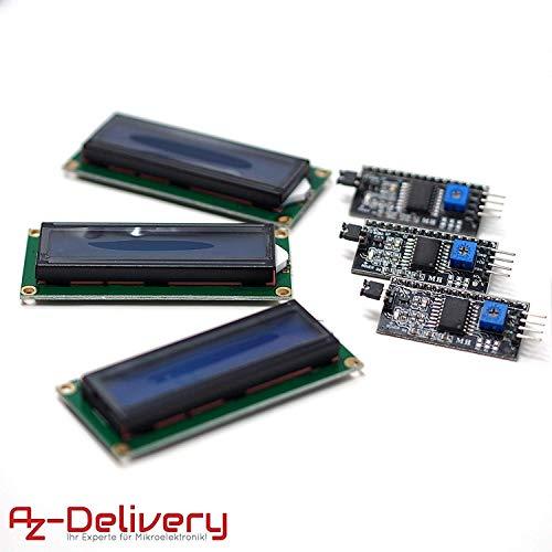 AZDelivery 3 x HD44780 16x2 LCD Modul Display Bundle mit I2C Schnittstelle 2x16 Zeichen inklusive E-Book! (mit Blauem Hintergrund)