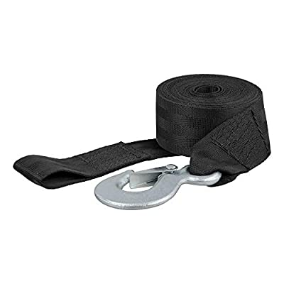 CURT 29450 2-Inch x 15-Foot Nylon Winch Strap with Hook, 3,300 lbs