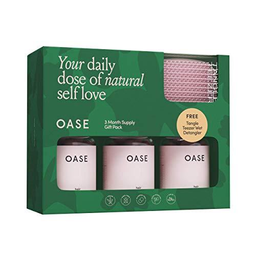 OASE Hair Vitamins - Nutrientes totalmente esenciales para un cabello más saludable, largo, suave y hermoso - Vegans Soft Gums – Paquete de regalo de 3 meses