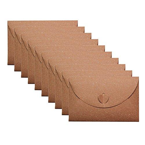 Qinlee Retro Umschlag Kraftpapier Umschlag Traditioneller Umschlag Foto-Hosting Umschlag Hochzeit/Bankett/Party Einladungsumschlag 10 Pcs (Khaki)