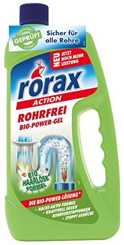 Rorax Rohrfrei Bio-Power-Gel, umweltschonend, sicher für Abflussrohre und Dichtungen, 2er Pack (2 x 1000 ml)