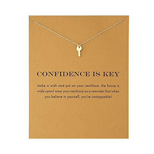 LANG XUAN Friendship Key Necklace Lucky Star Pearl Circle Pendant Necklace for Women Gift Card (Gold)