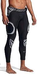 professional Nike Pro Hyper Strong Hard Plate 3/4 Men's Football Tights (Medium, Black / White)