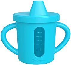 Bakerpan Silicone Toddler Spill Proof Sippy Cup with Level Indicator Window & handles (Blue)
