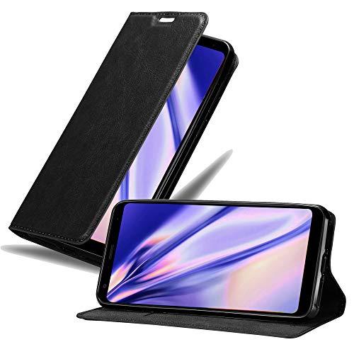 Cadorabo Hülle für LG Q Stylus in Nacht SCHWARZ - Handyhülle mit Magnetverschluss, Standfunktion & Kartenfach - Hülle Cover Schutzhülle Etui Tasche Book Klapp Style