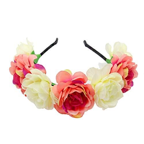 suoryisrty Bohemian Women Wedding Bridal Headband Artificial Colored Blooming Flower Hair Hoop Beach Vacation Headdress Garland Wreath