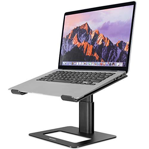 TopMate Supporto per Laptop per Scrivania, Supporti per PC Portatile Computer in Alluminio da Ufficio, Ergonomico Regolabile in Altezza Supporto Notebook, per MacBook Air PRO 10-17,3' Laptops - Nero